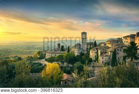 Assisi Town Panoramic View At Sunset. Perugia, Umbria, Italy, Europe.