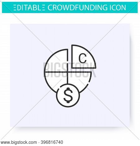 Equity Crowdfunding Line Icon. Financing Early Stage Company Of Startup. Funding And Investment Conc
