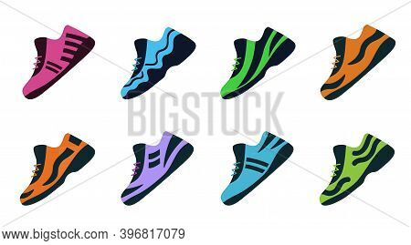 Set Sport Shoes. Vector Fitness Sneakers Shoes For Training, Running Shoe.