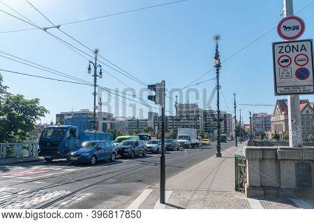 Prague, Czech Republic - July 10, 2020: View On Svatopluk Cech Bridge Or Cech Bridge (most Svatopluk