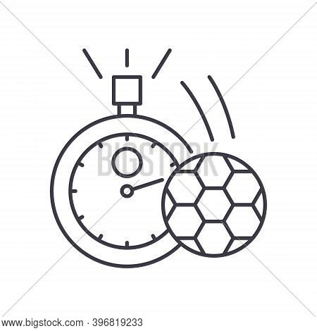 Football Timepiece Icon, Linear Isolated Illustration, Thin Line Vector, Web Design Sign, Outline Co