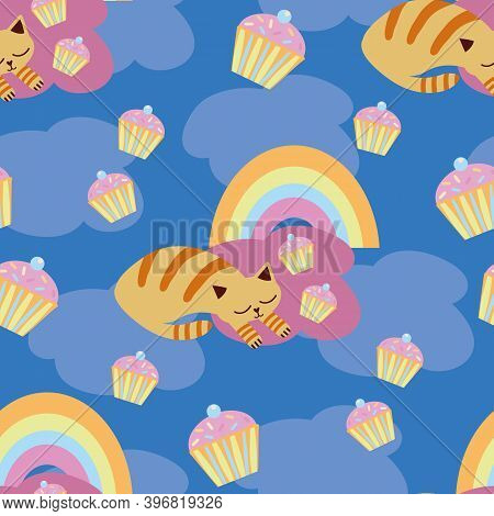 Cute Vector Sleeping Kawaii Cats With Cupcakes, Rainbows. Seamless Pattern Background. Snoozing Ging