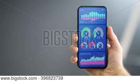 Predictive Business Kpi Data Technology Dashboard On Smartphone