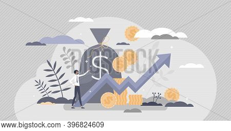 Income Growth And Profit Earnings As Financial Progress Tiny Person Concept. Symbolic Upward Arrow A