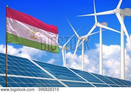 Tajikistan Solar And Wind Energy, Renewable Energy Concept With Windmills - Renewable Energy Against