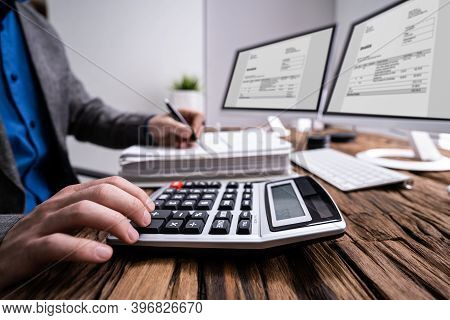 Professional Accountant Man Doing Taxation And Business Audit