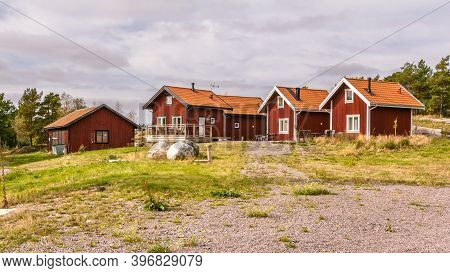Traditional Red Wooden Holiday Homes In Sweden Europe