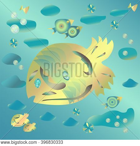 Drawing On The Marine Theme.  Yellow Fish In The Blue Ocean.  Vector With Gradients.