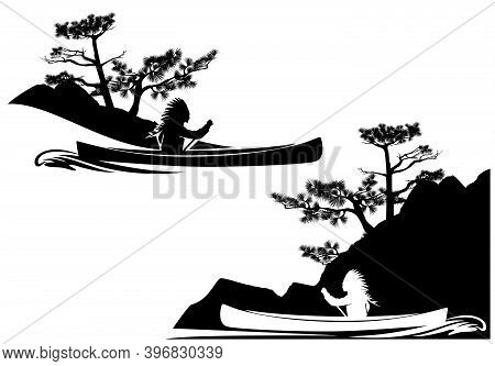 North American Indian Rowing In Traditional Boat With River Bank Silhouette - Black And White Vector