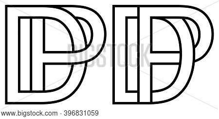 Logo Pd Dp Icon Sign Two Interlaced Letters P D, Vector Logo Pd Dp First Capital Letters Pattern Alp