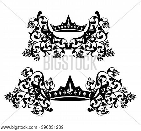 Elegant Royal Crown Among Rose Flowers Heraldic Decor - Queen Or Princess Emblem Black And White Vec