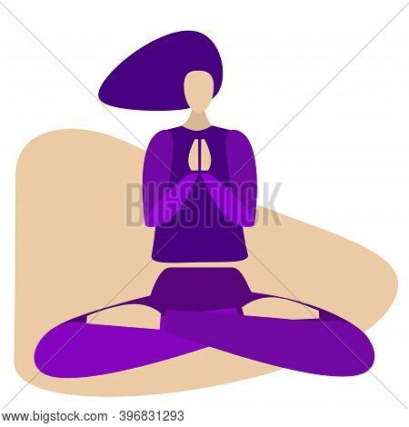 Woman Meditate. Monochrome Vector Illustration. Girl Practicing Yoga In Lotus Meditative Pose. Isola