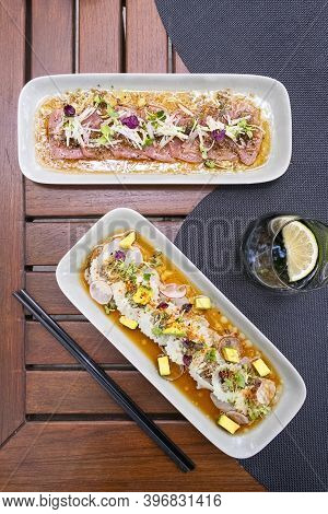 Tuna And Red Snapper Carpaccio, Candid Light, Top View , Vertical Composition