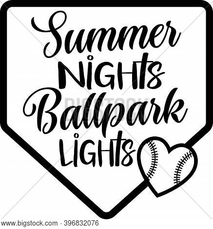 Summer Hights Ballpark Lights On The White Background. Vector Illustration