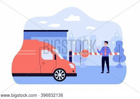 Security Guard Standing In Front Of Toll Booth Flat Vector Illustration. Cartoon Man Protecting Gate