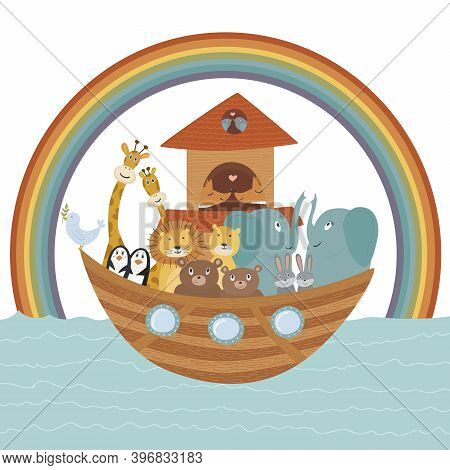 Vector Illustration With Noah's Ark, Bible Story Concept For Kids. Cute Poster Can Be Used For Diffe