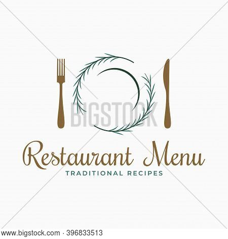 Plate Logo With Fork And Knife And Rosemary