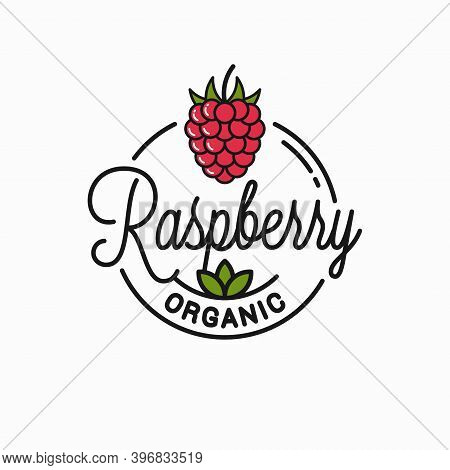 Raspberry Logo. Round Linear Of Organic Raspberry