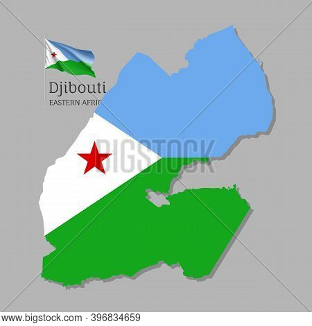 Map Of Djibouti With National Flag. Highly Detailed Editable Djiboutian Map Of Eastern Africa Countr