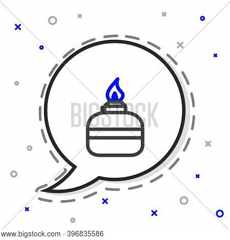 Line Alcohol Or Spirit Burner Icon Isolated On White Background. Chemical Equipment. Colorful Outlin