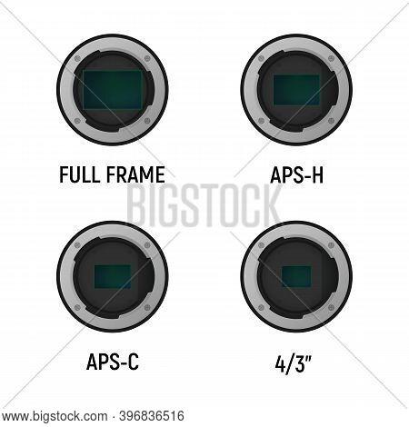Size Of Image Sensor. Vector Illustration. Camera Crop Factor.