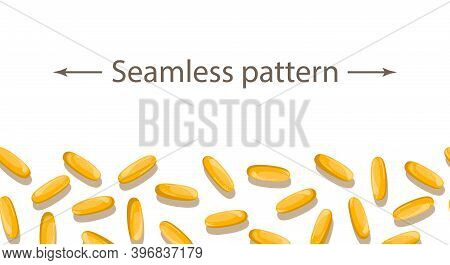 The Seamless Pattern With Omega-3 Capsules. Fish Oil.