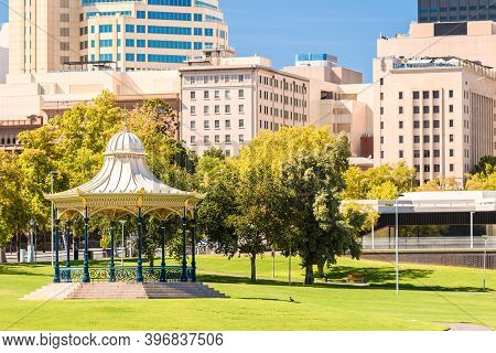 Adelaide City Rotunda At Elder Park On A Bright Day