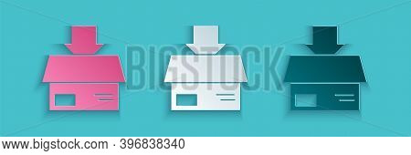 Paper Cut Carton Cardboard Box Icon Isolated On Blue Background. Box, Package, Parcel Sign. Delivery