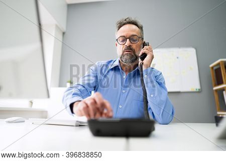 Dialing Corporate Landline Telephone Call In Office