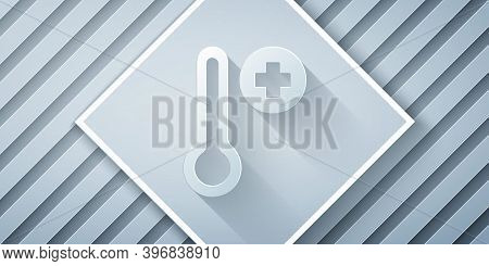 Paper Cut Meteorology Thermometer Measuring Icon Isolated On Grey Background. Thermometer Equipment