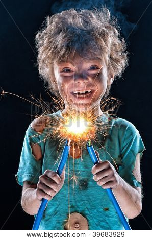 Portrait of crazy little electrician over black background