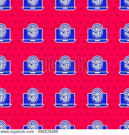Blue Laptop With Fingerprint Icon Isolated Seamless Pattern On Red Background. Id App Icon. Identifi