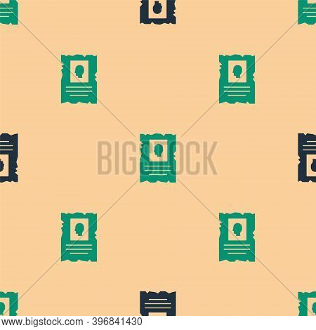 Green And Black Wanted Western Poster Icon Isolated Seamless Pattern On Beige Background. Reward Mon