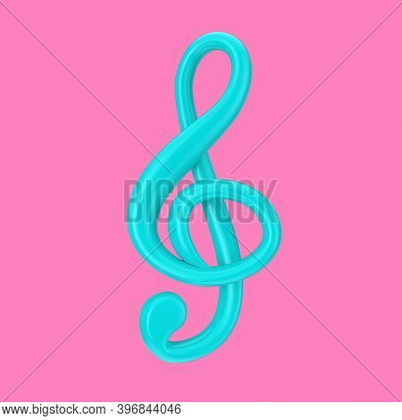 Blue Treble Clef In Duotone Style On A Pink Background. 3d Rendering