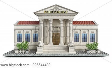 Front View On A Courthouse Classical Building On A Piece Of Ground, 3d Illustration