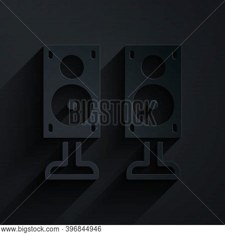 Paper Cut Stereo Speaker Icon Isolated On Black Background. Sound System Speakers. Music Icon. Music