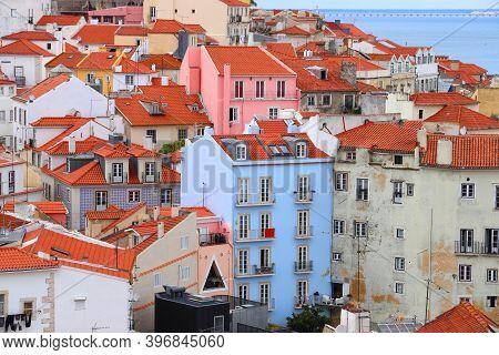 Lisbon Colorful City View. Alfama District Architecture In Lisbon, Portugal. Portuguese Landmarks.