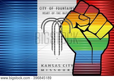 Shiny Lgbt Protest Fist On A Kansas City - Illustration,  Abstract Grunge Kansas City And Lgbt Flag