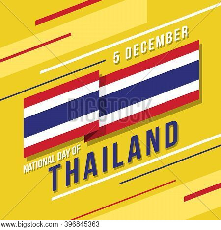 National Day Of Thailand With Thailand Flag Stripes Waving Sharp And Text On Yellow Background Vecto