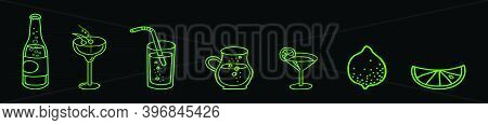 Lime Drink In A Glass, Cartoon Icon Design Template With Various Models. Modern Vector Illustration
