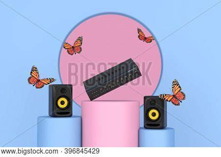 Flying Butterfly Between Audio Studio Acoustic Speakers, Hifi Stereo Mixer Amplifier Over Pink And B