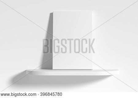 Blank White Empty Rectangular Poster On White Rounded Shelf Leaning At Empty White Wall, White Bleac