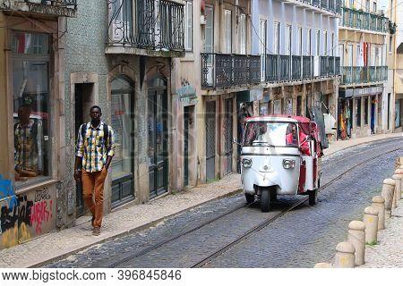 Lisbon, Portugal - June 5, 2018: People Visit Mouraria District (moorish Quarter) In Lisbon, Portuga