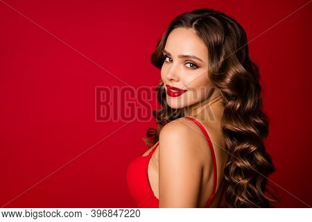 Closeup Profile Photo Of Attractive Seduce Perfect Beauty Curly Lady Sensual Appearance Bright Lipst