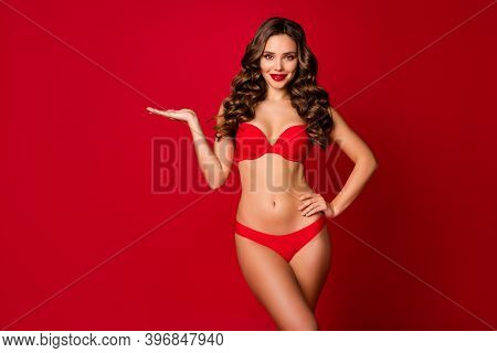 Photo Of Attractive Beautiful Curly Lady Model Advertising Underwear Hold Open Palm Arm Empty Space