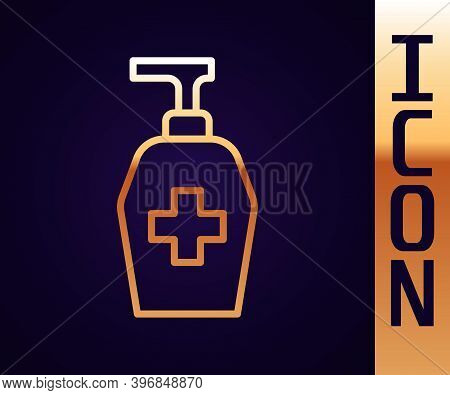 Gold Line Bottle Of Liquid Antibacterial Soap With Dispenser Icon Isolated On Black Background. Anti