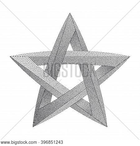 Impossible Star With Black Dots. Impossible Star On White Background. Unreal Geometrical Symbol For