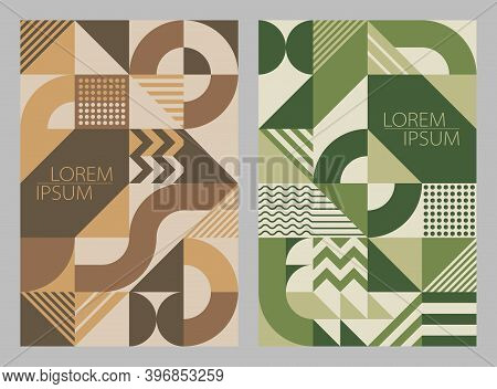Simple Background Geometric Shapes & Lines, Brown & Green. Universal Abstract Seamless Pattern Desig