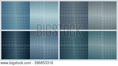 Geometric Triangle Shapes, Abstract Pattern Background. Earth Tone Blue Color Design Set. Vector Ill