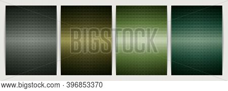 Poster Design Set Abstract Background, Geometric Shape Triangle Pyramid. Earth Tone Green Color Desi